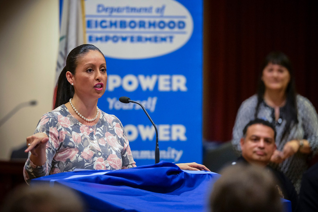 . Nury Martinez LA City Council member, district 6, speaks to members of Empower LA and Neighborhood councils at Van Nuys City Hall on January 29, 2013.   (Photo by David Crane/Los Angeles Daily News)