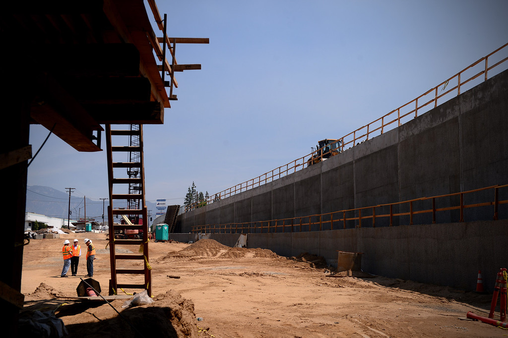. The northern half of the Alameda Construction East railroad underpass at Baldwin Avenue and Gidley Street in El Monte is seen on Friday, May 16, 2014. The 2-year project, which closed Baldwin Avenue, is one of 22 underpasses from Los Angeles to Pomona that are done or expected to be completed by 2019. (Photo by Sarah Reingewirtz/Pasadena Star-News)