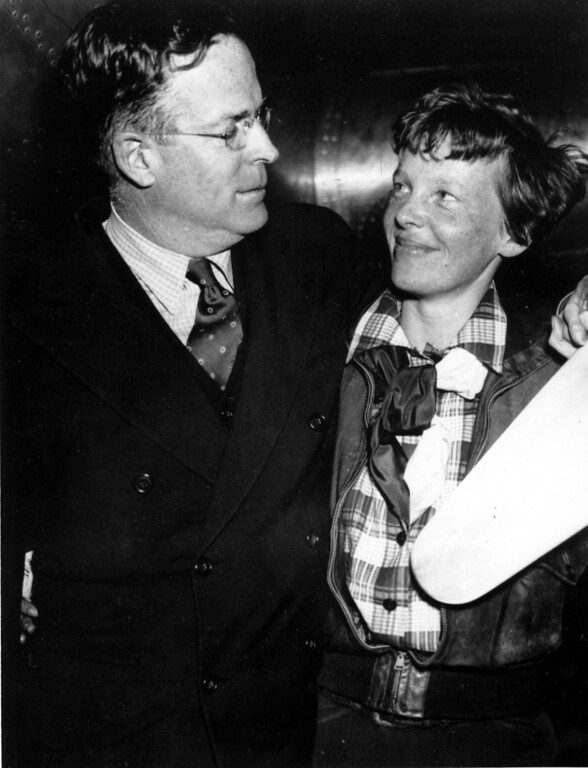 . This is an undated photo of Amelia Earhart with husband George Putnam.  (AP Photo)
