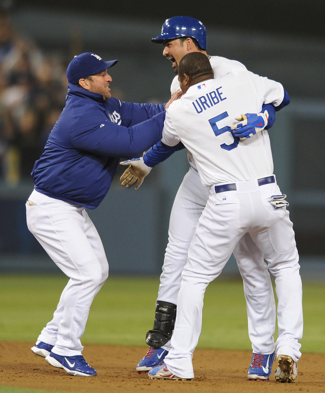 . The Dodgers defeated the New York Mets 5-4 in 12 innings at Dodger Stadium in Los Angeles, CA. 8/13/2013(John McCoy/LA Daily News)