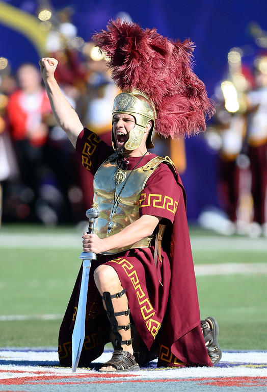 . LAS VEGAS, NV - DECEMBER 21:  USC drum major Matt Deligio performs on the field before the team\'s game against the Fresno State Bulldogs in the Royal Purple Las Vegas Bowl at Sam Boyd Stadium on December 21, 2013 in Las Vegas, Nevada. USC won 45-20.  (Photo by Ethan Miller/Getty Images)