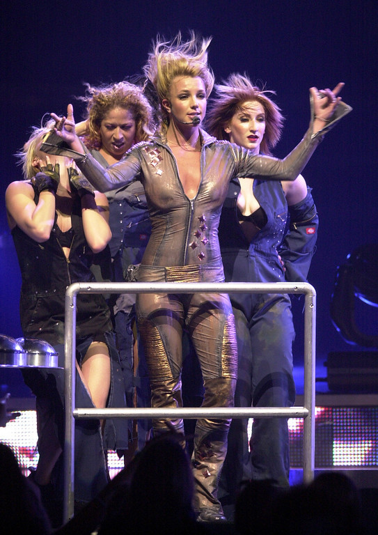. FILE-Britney Spears performs in concert in Buffalo, N.Y., Wednesday, June 26, 2002. (AP Photo/David Duprey)