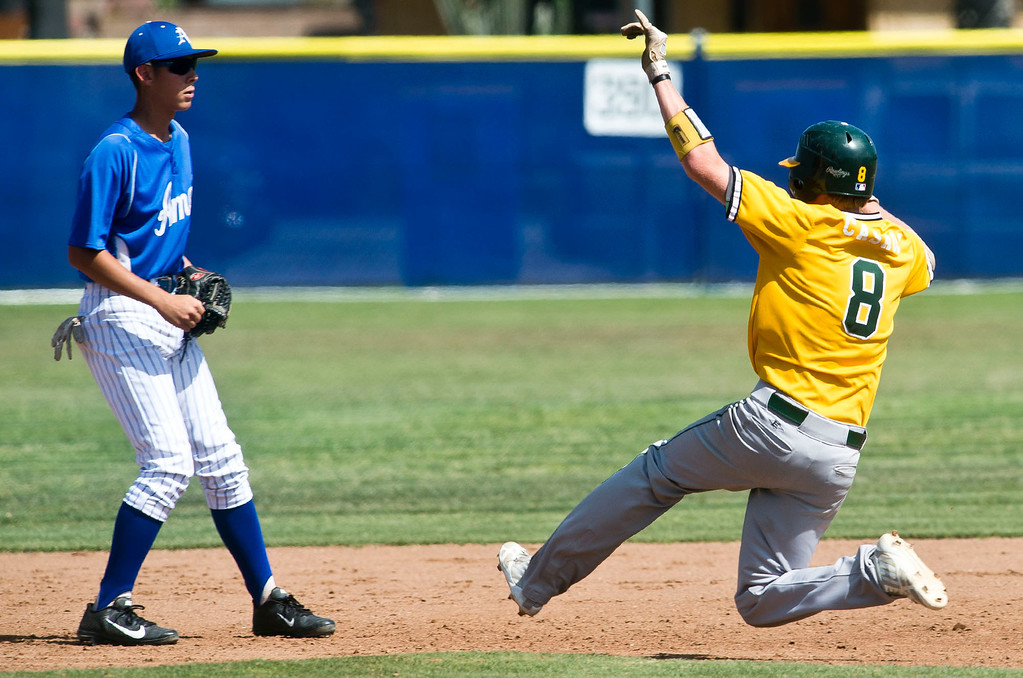 . Mira Costa\'s Braden Casady (#8) runs to second base in the fourth inning during quarterfinal baseball, Mira Costa at Bishop Amat on Friday, May 24, 2013. Mira Costa won 4-2. (SGVN/Staff photo by Watchara Phomicinda)