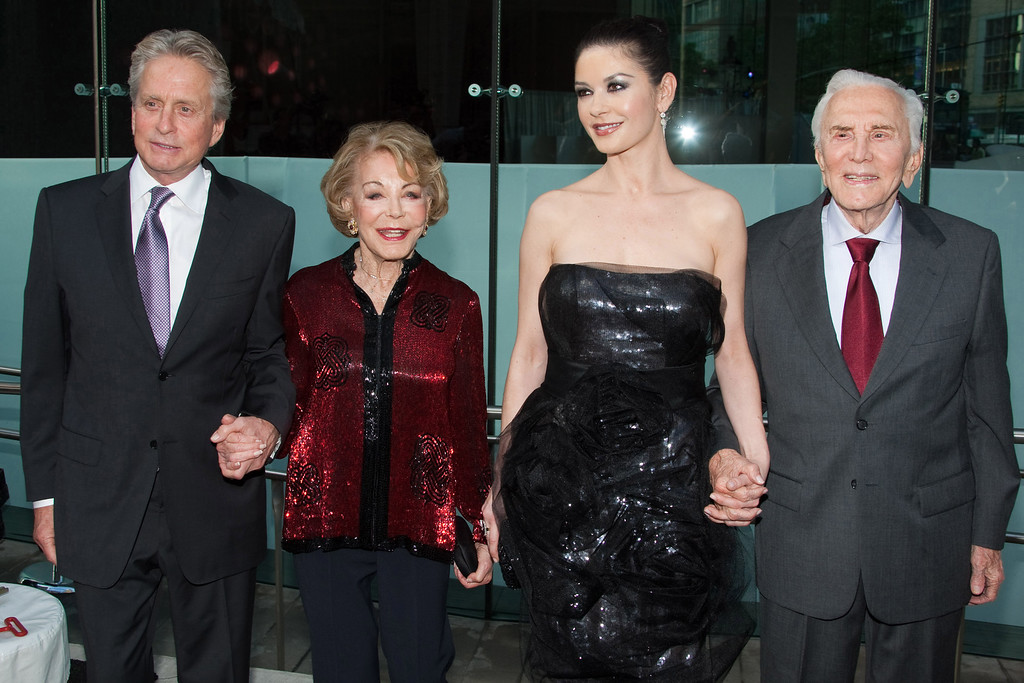 . Michael Douglas, Anne Douglas, Catherine Zeta-Jones and Kirk Douglas arrive to the Film Society of Lincoln Center\'s 37th Chaplin Award Gala honoring Michael Douglas in New York, Monday, May 24, 2010. (AP Photo/Charles Sykes)