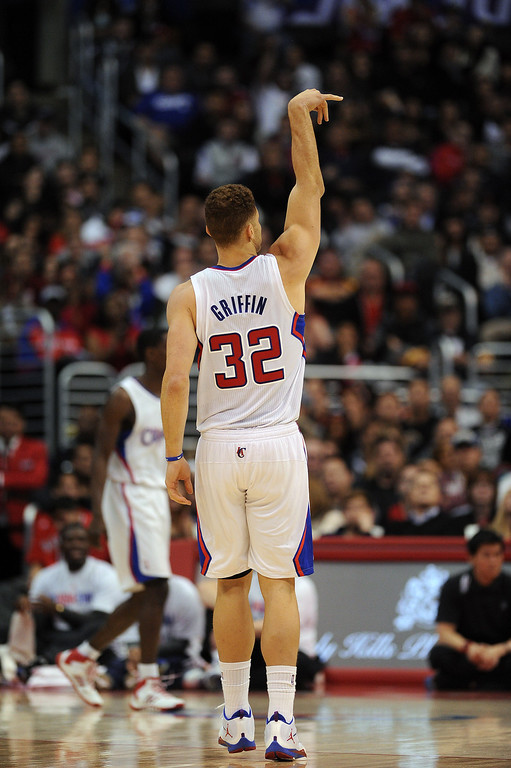 . The Clippers� Blake Griffin #32 sinks a shot during their game against the Raptors at the Staples Center in Los Angeles Friday, February 7, 2014. (Photo by Hans Gutknecht/Los Angeles Daily News)