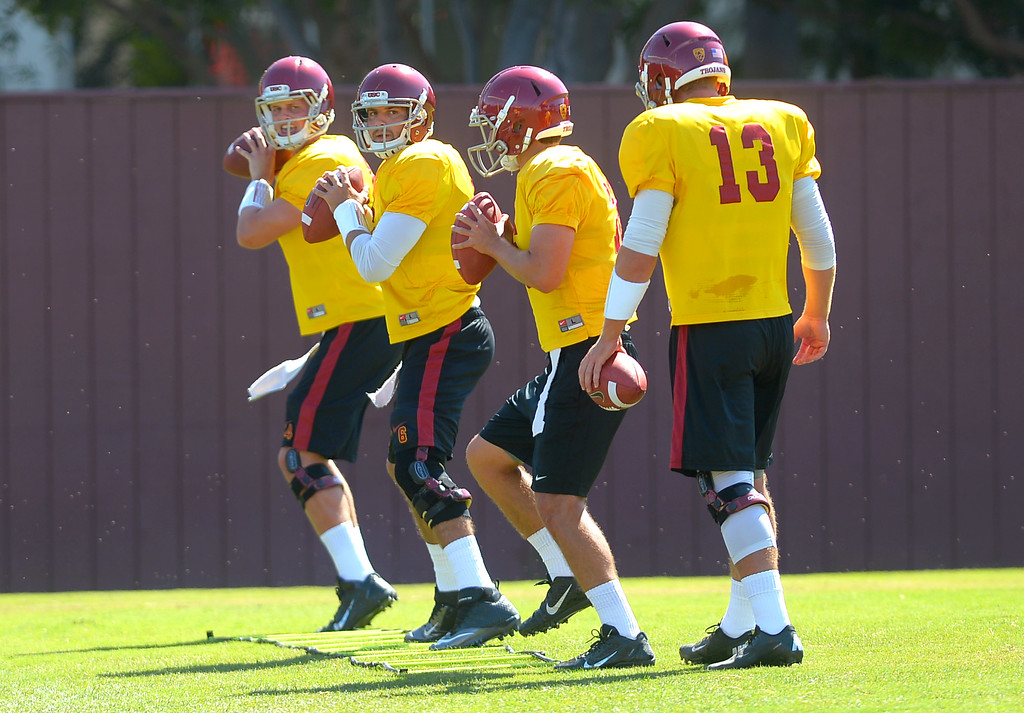 . USC quarterbacks practice August 20, 2013.(Andy Holzman/Los Angeles Daily News)