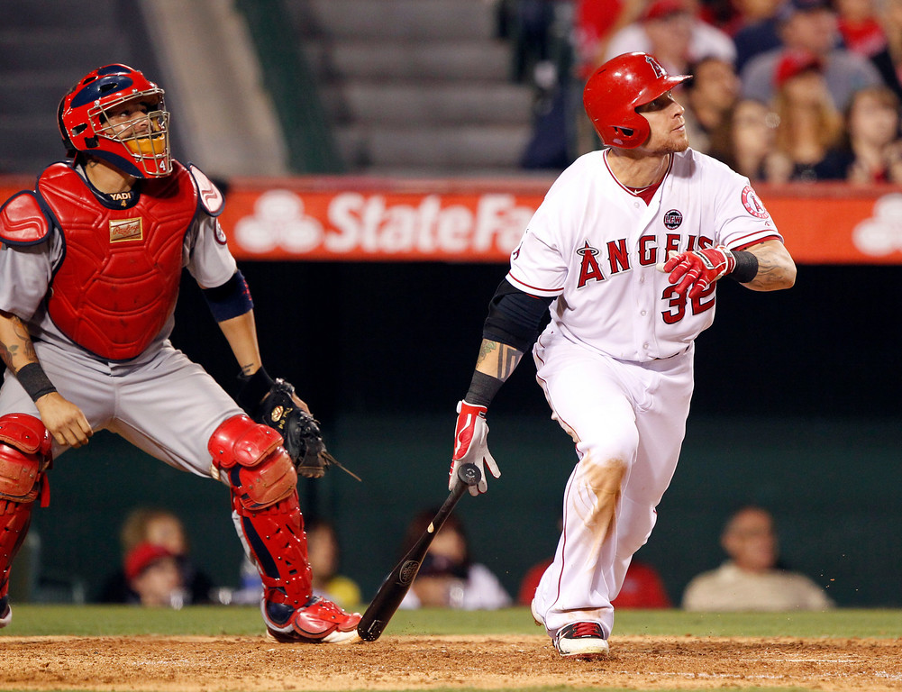 . JULY 4: One day after singling and walking in a 12-2 loss that snapped the Angels\' seven-game win streak, Hamilton hit a tying two-run home run in the top of the ninth in a 6-5 victory over St. Louis. (AP Photo/Alex Gallardo)