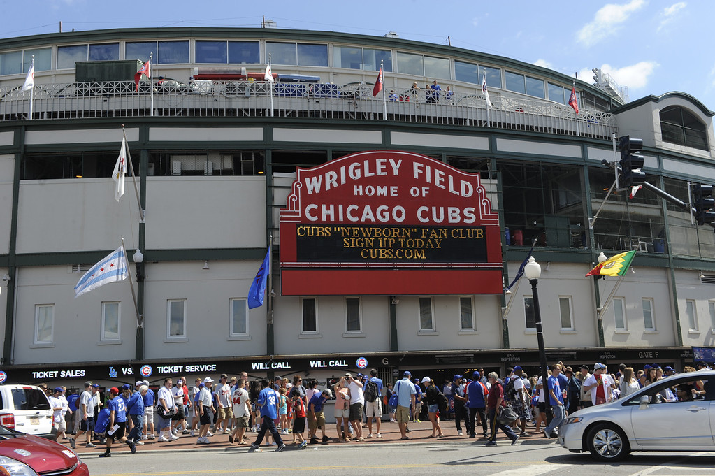 . The front of Wrigley Field prior to action in a baseball game between the Chicago Cubs and the Los Angeles Dodgers Sunday Aug. 4, 2013 in Chicago, Ill. (AP photo/Joe Raymond