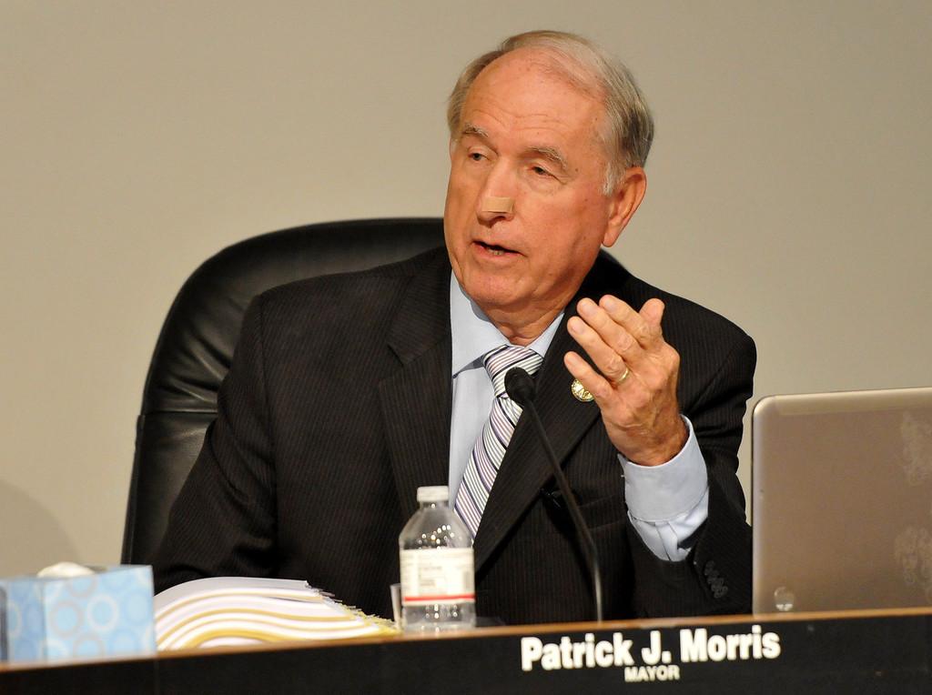 . (John Valenzuela/ Staff Photographer) San Bernardino Mayor Pat Morris talks during Monday\'s San Bernardino City Council meeting at City Hall, Oct. 20, 2013.