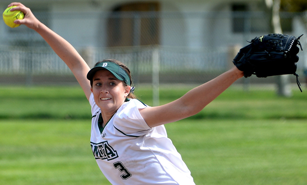 . Bonita starting pitcher Kaelyn Mc Fadden throws to the plate against West Covina in the first inning of a prep softball game at Los Flores Park in La Verne, Calif., on Thursday, March 27, 2014. Bonita won 6-3. (Keith Birmingham Pasadena Star-News)
