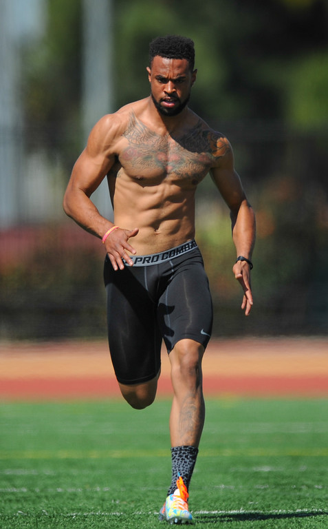 . Cornerback Torin Harris ran a 4.66 40-yard dash at USC Pro Day, Wednesday, March 12, 2014, at USC. (Photo by Michael Owen Baker/L.A. Daily News)
