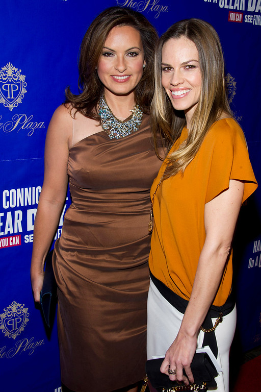 ". Mariska Hargitay, left, and Hilary Swank attend the opening night performance of the Broadway musical ""On A Clear Day You Can See Forever\"", in New York, Sunday, Dec. 11, 2011. (AP Photo/Charles Sykes)"