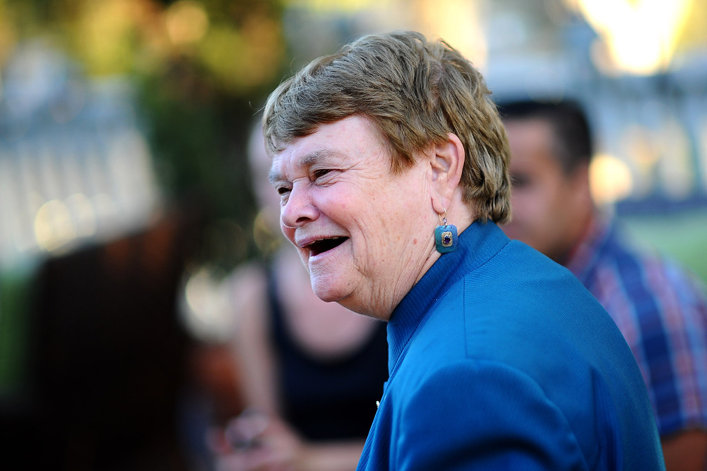 . District 3 Supervisor candidate Sheila Kuehl talks with supporters during her election night party in Santa Monica June 3, 2014. .(Andy Holzman/Los Angeles Daily News)