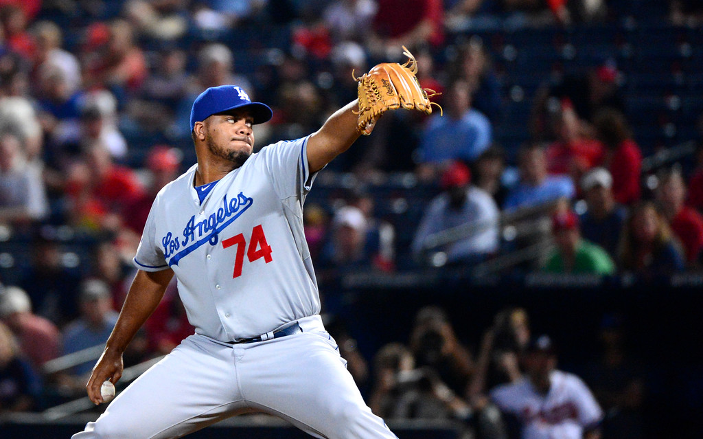 . Los Angeles Dodgers\' Kenley Jansen closes out the first game of the playoffs Thursday, October 3, 2013 at Turner Field in Atlanta, Georgia as they defeat the Atlanta Braves 6-1. (Photo by Sarah Reingewirtz/Pasadena Star- News)