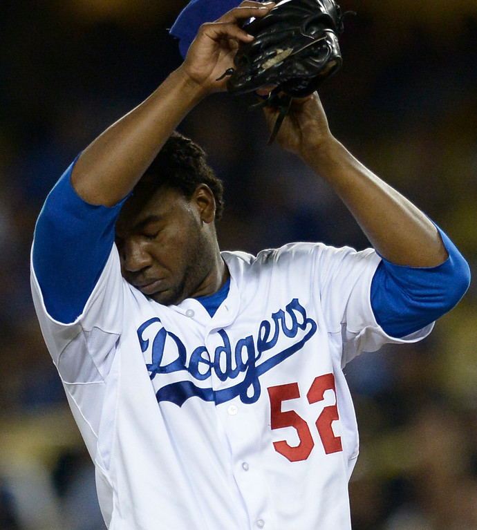 . Pedro Baez works in the 8th inning. The Dodgers lost to the San Diego Padres 4-1 at Dodger Stadium. Los Angeles, CA. 8/20/2014(Photo by John McCoy Daily News)