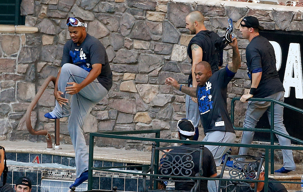 . Los Angeles Dodgers players jump into the pool at Chase Field after the Dodgers clinched the NL West title with a 7-6 win over the Arizona Diamondbacks in a baseball game Thursday, Sept. 19, 2013, in Phoenix. (AP Photo/Ross D. Franklin)