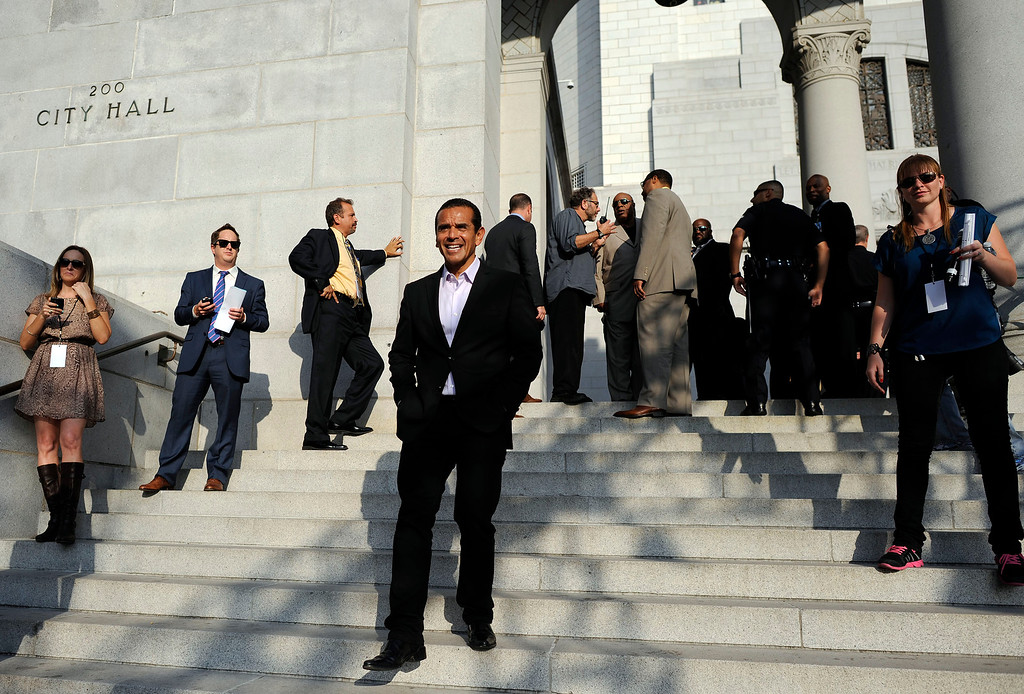 . Mayor Antonio Villaraigosa  before taking the stage at during CelebrateLA! on the steps of city hall Friday, June 7, 2013. (Hans Gutknecht/L.A.  Daily News)