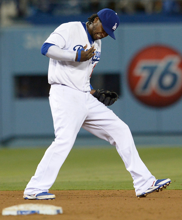 . Hanley Ramirez reacts to getting his in the hand in the 7th inning. The Dodgers defeated the Colorado Rockies at 4-2 Dodger Stadium in Los Angeles, CA. 6/18/2014(Photo by John McCoy Daily News)