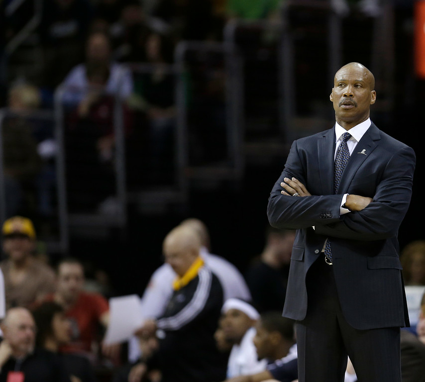 . Cleveland Cavaliers head coach Byron Scott watches during an NBA basketball game against the Los Angeles Clippers Friday, March 1, 2013, in Cleveland. (AP Photo/Tony Dejak)
