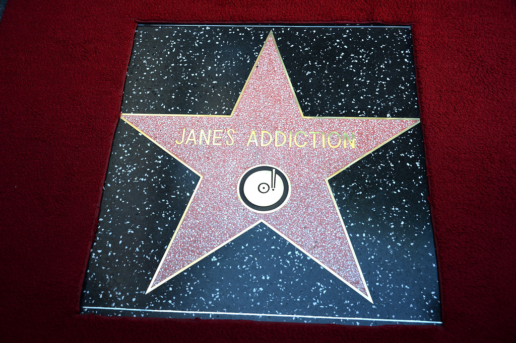 . The alt-rock band Jane\'s Addiction is honored with a star on The Hollywood Walk of Fame, October 30, 2013 in Hollywood, California.          (ROBYN BECK/AFP/Getty Images)