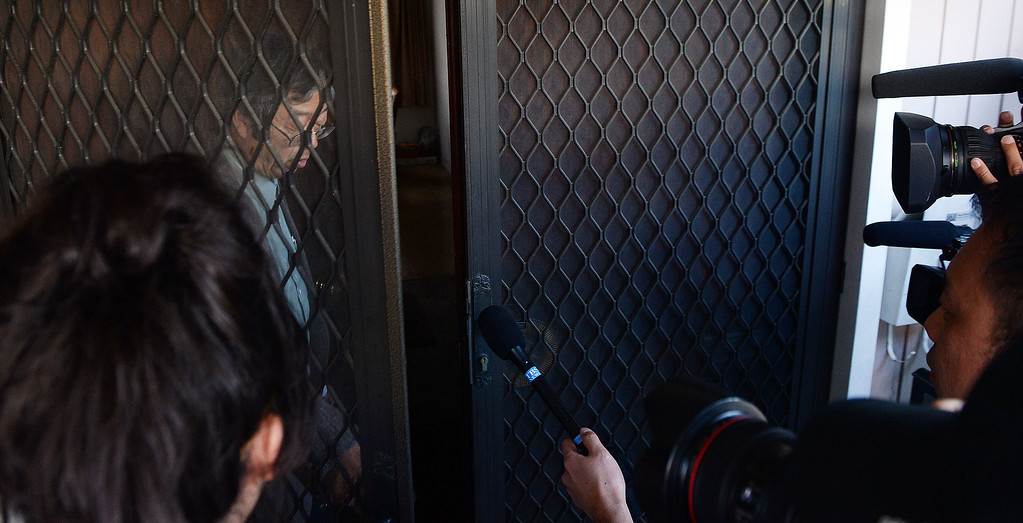 . Dorian Satoshi Nakamoto, 64, who Newsweek identified as the founder of Bitcoin, talks with the media at his home in Temple City, Calif., on Thursday, March 6, 2014. Bitcoin is a virtual currency. (Keith Birmingham Pasadena Star-News)