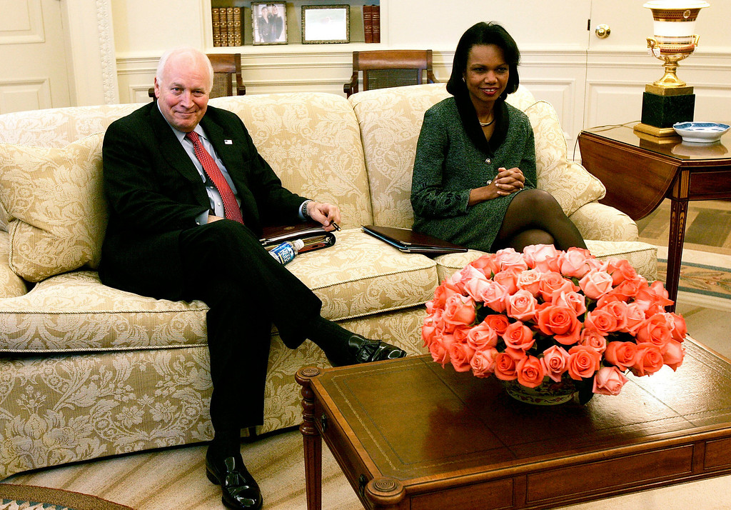 . WASHINGTON - OCTOBER 26:  U.S. Vice President Dick Cheney (L) and Secretary of State Condoleezza Rice sit during a meeting with U.S. Ambassador to Iraq at the Oval Office of the White House October 26, 2005 in Washington, DC. It\'s been reported that Cheney told his chief of staff I. Lewis Libby, Jr. the identity of CIA officer Valerie Plame.  (Photo by Alex Wong/Getty Images)