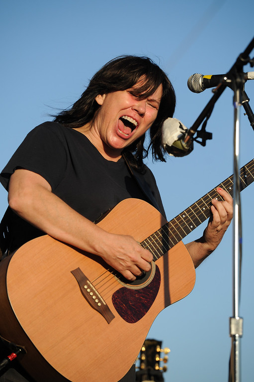 . Kim Deal of The Breeders performs at the FYF Fest in downtown L.A., Saturday, August 24, 2013. (Michael Owen Baker/L.A. Daily News)