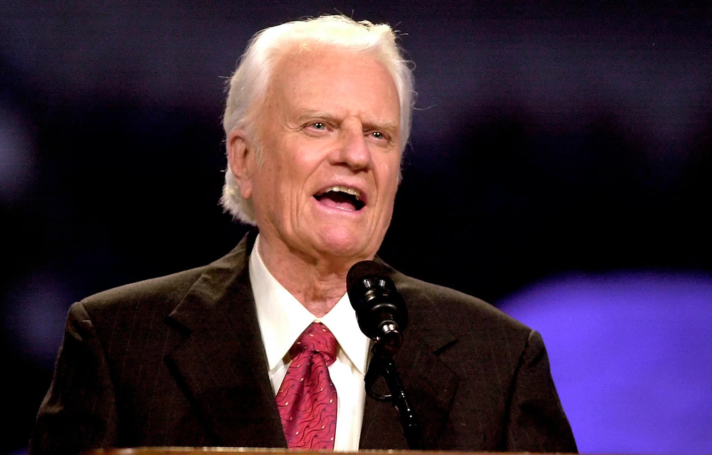 . The Rev. Billy Graham speaks during the Mission Metroplex at Texas Stadium in Irving, Texas, Thursday, Oct. 17, 2002.  (AP Photo/LM Otero)