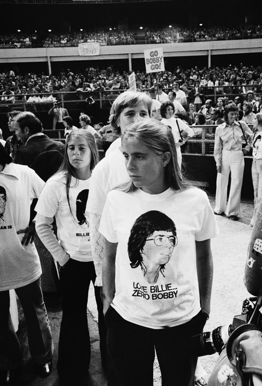". Supporters of Billie Jean King are shown at the Astrodome in Houston, Tex., Sep 20,1973 as King will participate in a $100,000 winner-take-all ""Battle of the Sexes\"" match against  Bobby Riggs.(AP Photo)"