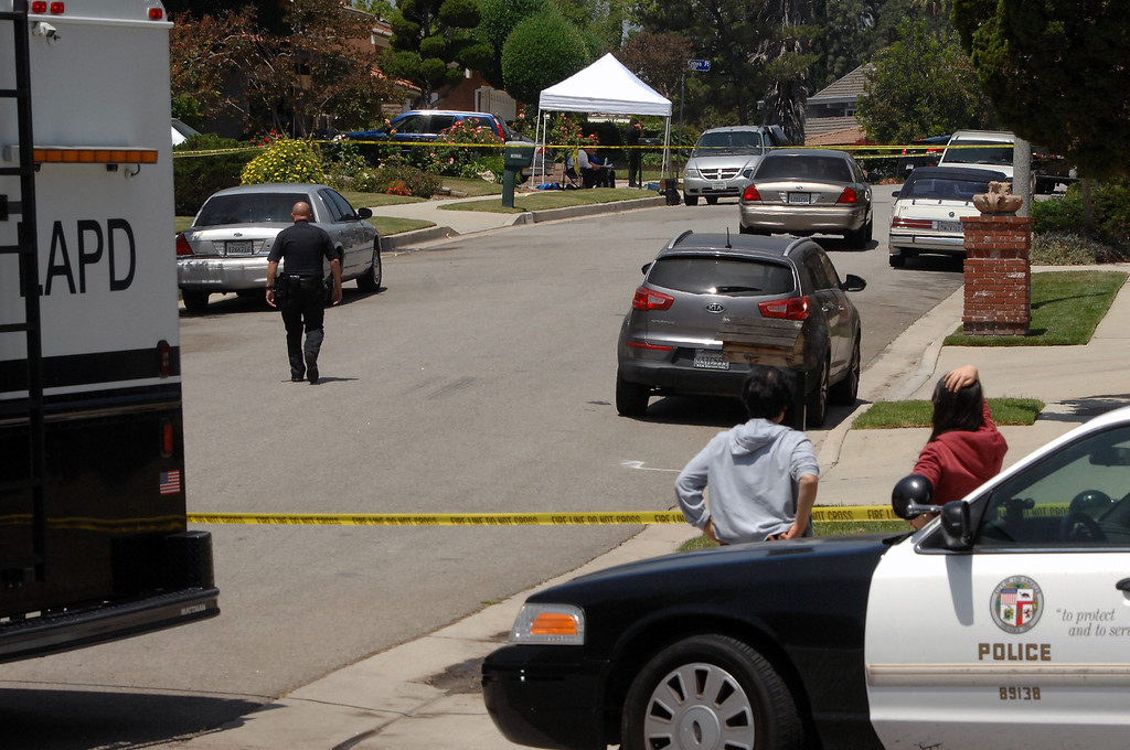 . LAPD cars at the scene in the 19200 block of Kenya Street in Northridge, Friday, June 15, 2013, where a woman was murdered and the suspect surrendered to SWAT officers following a nighttime standoff. (Michael Owen Baker/Staff Photographer)