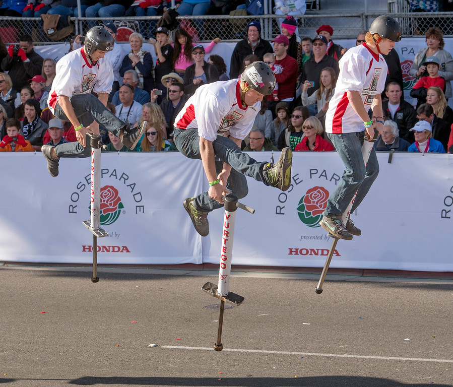 . Xpogo jumpers during 2014 Rose Parade in Pasadena, Calif. on January 1, 2014. (Staff photo by Leo Jarzomb/ Pasadena Star-News)