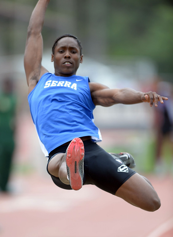 . Serra\'s Adoree Jackson wins the Division 4 long jump with this 25 foot leap of the CIF Southern Section Track and Field Championships Saturday at Mt. SAC. The jump is a Division 4 record and leads the nation this year. 20130518 Photo by Steve McCrank / Staff Photographer