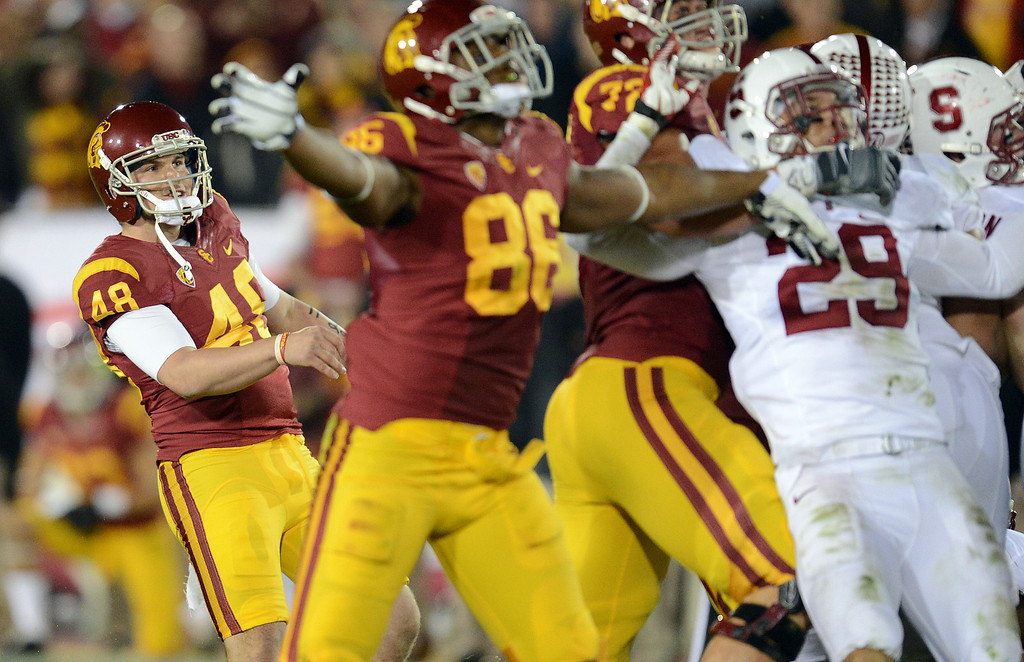 . USC�s Andre Heidari #48 watches his field goal head for the uprights late in the 4th quarter during their game at the Los Angeles Memorial Coliseum Saturday, November 16, 2013. USC beat Stanford 20-17. (Photos by Hans Gutknecht/Los Angeles Daily News)