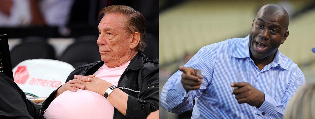 . Donald Sterling, left, and Magic Johnson  (Sterling photo: AP Photo/Mark J. Terrill, Magic photo: John McCoy/Los Angeles Daily News)