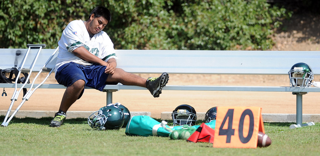 . Football practice at South Hills High School on Friday, Aug. 9, 2013 in West Covina, Calif.   (Keith Birmingham/Pasadena Star-News)