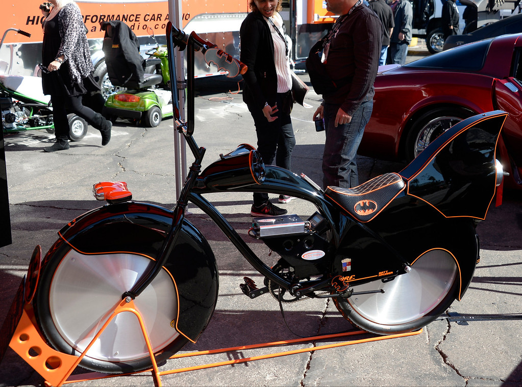. Nov 5,2013 Las Vegas NV. USA. Some of the many bazar things to be seen during the first day of the 2013 SEMA auto show.