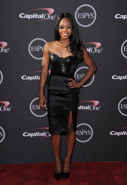 . Gymnast Gabby Douglas arrives at the ESPY Awards on Wednesday, July 17, 2013, at Nokia Theater in Los Angeles. (Photo by Jordan Strauss/Invision/AP)
