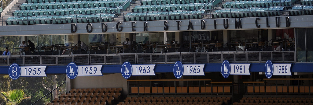 . Los Angeles Dodgers World Championship seasons prior to a Major league baseball game against the San Francisco Giants on Saturday, May10, 2013 in Los Angeles.   (Keith Birmingham/Pasadena Star-News)