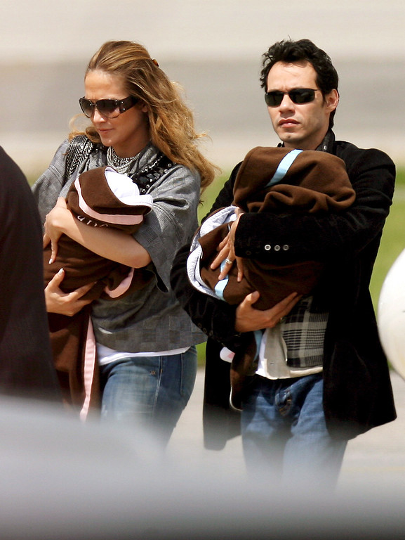 . US actress and singer Jennifer Lopez and husband, singer Marc Anthony arrive with their children Marc and Emme in Zaventem, Belgium, 18 June 2008. Marc Anthony will perform in Antwerp tomorrow 19 June his only concert in the Benelux. EPA/VIRGINIE LEFOUR