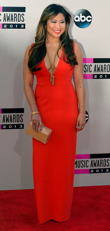 . Jenna Ushkowitz arrives to the American Music Awards  at the Nokia Theatre in Los Angeles, California on Sunday November 24, 2013 (Photo by Andy Holzman / Los Angeles Daily News)