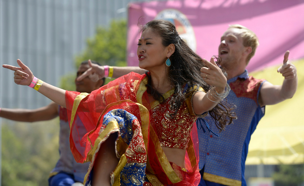 . Blue 13 dances on the stage at Grand Park during the 5th Annual National Dance Day celebration at Grand Park and The Music Center. More than 2,000 people participated in the free all-day dance extravaganza.  Los Angeles CA. 7/25/2014(Photo by John McCoy Daily News)