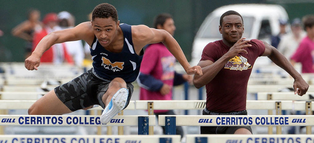 . Miklikan\'s Misana Viltz, left, wins the division 1 110 meter high hurdles during the CIF Southern Section track and final Championships at Cerritos College in Norwalk, Calif., Saturday, May 24, 2014. 