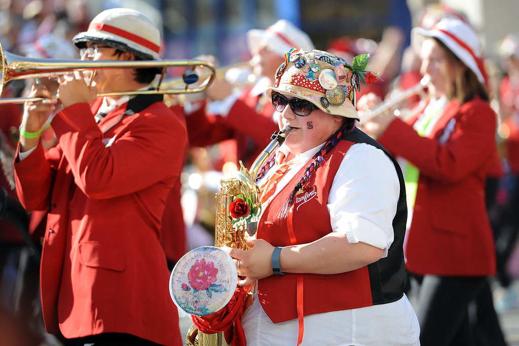 . The Stanford Marching Band performs during the 2014 Rose Parade in Pasadena, CA January 1, 2014.(Andy Holzman/Los Angeles Daily News)