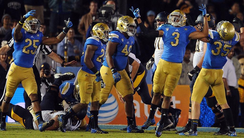 . UCLA safety Randall Goforth (3) reacts after stopping California at the goal line during the second half of their college football game in the Rose Bowl in Pasadena, Calif., on Saturday, Oct. 12, 2013.   (Keith Birmingham Pasadena Star-News)