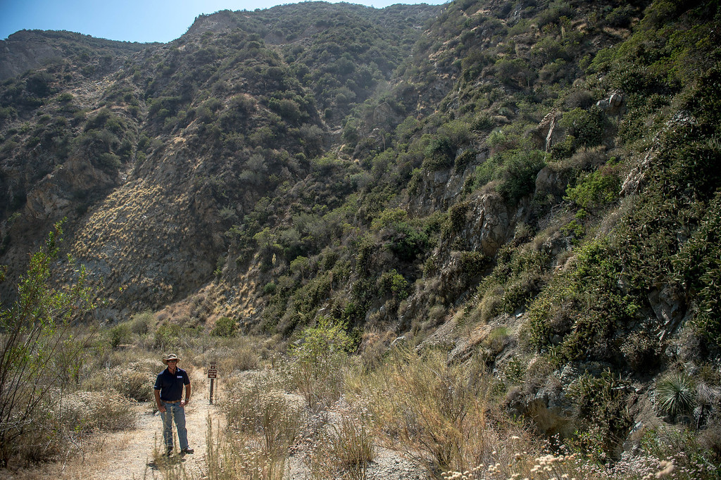 . Vulcan Materials Company\'s officials led visitors through the Fish Canyon Falls Access Trail in Azusa on Wednesday, June 18, 2014. Vulcan have rebuilt the trail and will open it 7 days a week.  (Photo by Watchara Phomicinda/ San Gabriel Valley Tribune)