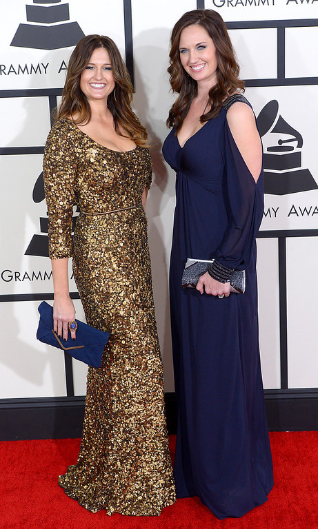 . Shauna Dodds and Sarah Dodds arrive at the 56th Annual GRAMMY Awards at Staples Center in Los Angeles, California on Sunday January 26, 2014 (Photo by David Crane / Los Angeles Daily News)