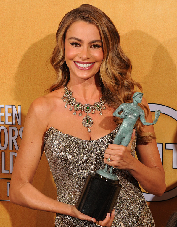 . Sofia Vergara backstage at the 20th Annual Screen Actors Guild Awards  at the Shrine Auditorium in Los Angeles, California on Saturday January 18, 2014 (Photo by John McCoy / Los Angeles Daily News)