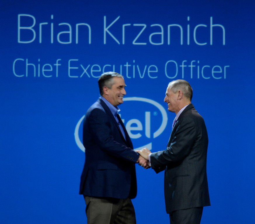 . Jan 6,2014.  Las Vegas NV. USA.  CES president  and CEO Gary  Shapiro(R.) greets Intel CEO Brian Krzanich at the opening of Intel keynote show during the 2014 CES media day show Monday. The 2014 CES show starts this Tuesday and runs till Friday with a estimated crowd of 150,000 to attend the show.. Photo by Gene Blevins/LA Dailynews