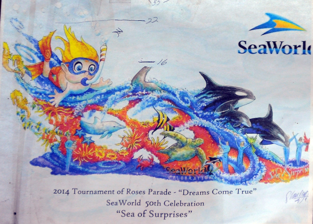 """. Sea Worlds entry titled \""""Dreams Come True\"""" for the upcoming 2014 Rose Parade at Fiesta Parade Floats in Irwindale, Calif. on Saturday, Sept. 7, 2013.   (Photo by Keith Birmingham/Pasadena Star-News)"""