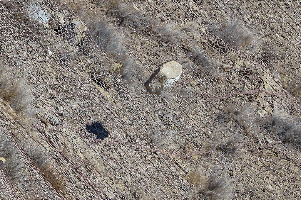 . A rock bounces down a hillside by PCH south of Pt. Mugu, Monday, November 25, 2013, during a scaling project to bring down potentially dangerous rocks on a hillside that was burnt during the Springs Fire last May. A steel mesh netting will be placed over the hillside in a couple weeks. (Photo by Michael Owen Baker/L.A. Daily News)